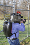 XVD NewsHound IISM Lightweight Hard-shell Backpack with battery powered Encoder and DVB-T/COFDM Wireless Transmitter allows DENG and DSNG crews to capture the news even where difficult terrain or police barricades block their vehicles.