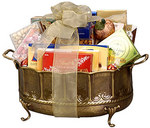 Brass Bowl Gift Basket - Sample of the gift baskets available at http://www.GiftBasketsDeluxe.com