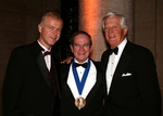 Larry Barton, Ph.D., President and Chief Executive Officer of the American College (left) is joined by Lee M. Gammill, Jr. CLU, (right) former vice chairman of the board of the New York Life Insurance Company in honoring Huebner Gold Medal award recipient Jack B. Turner, CLU, ChFC (center)