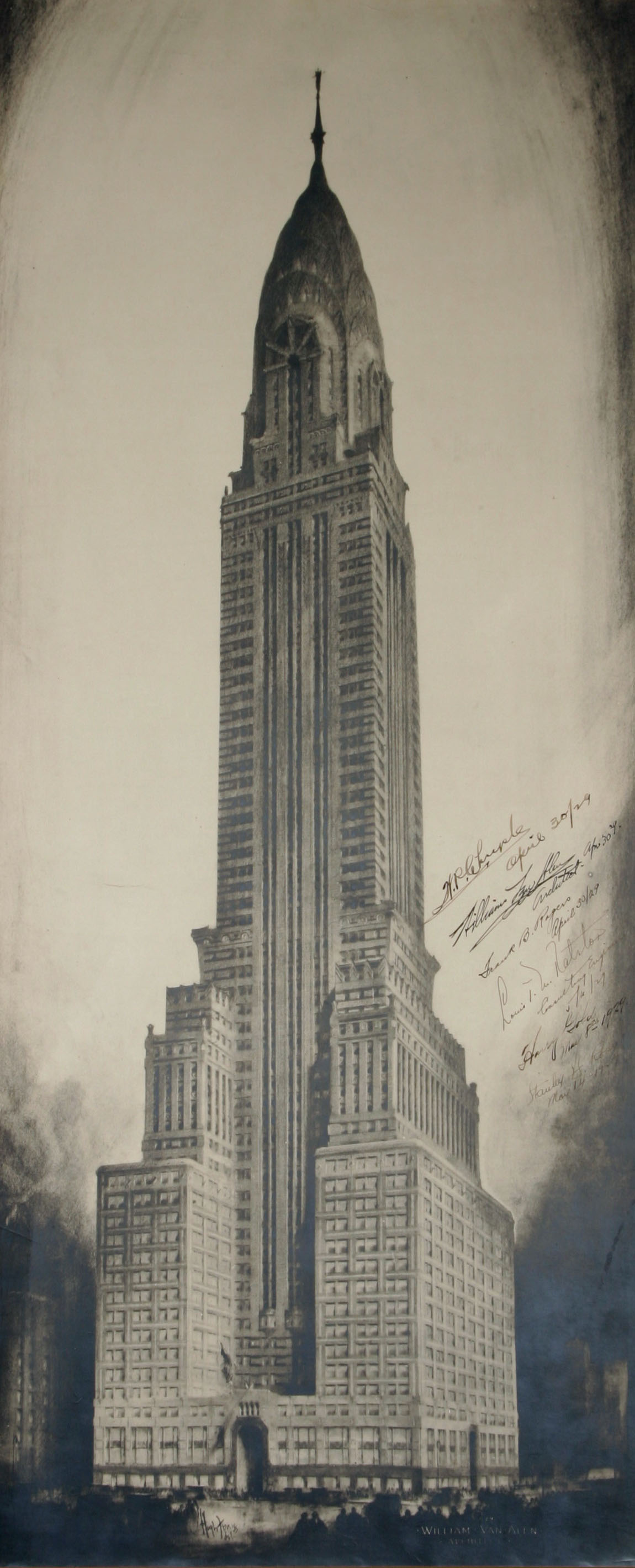 Rare signed chrysler building print to be sold at auction for Print architectural drawings