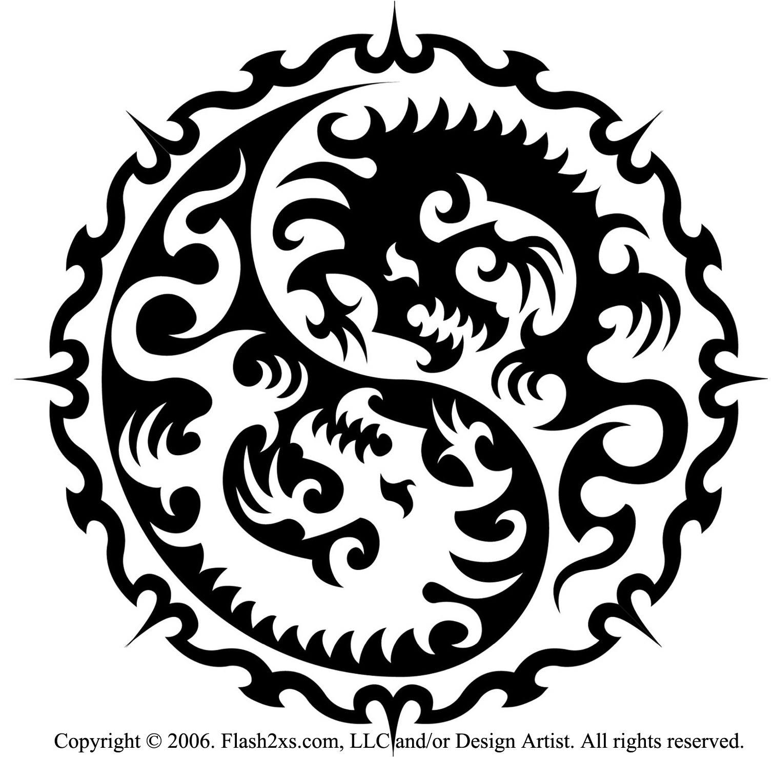 Tribal Dragon Yin Yang Tattoo Designs