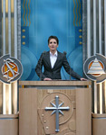 Sabine Weber, President of the Church of Scientology of Berlin, speaks at the Church's grand opening.