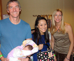 Dr. 90210's Dr. Li with husbnd, Dr. Bill Fulcher, 8 day old daughter, and Suzanne Longacre of Suzibella
