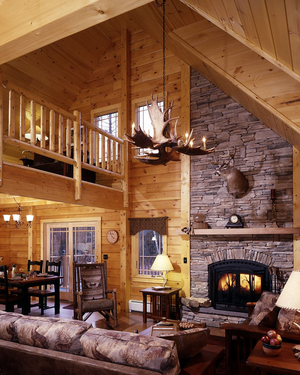 Hunting cabin interior design ideas joy studio design for Log home interior designs