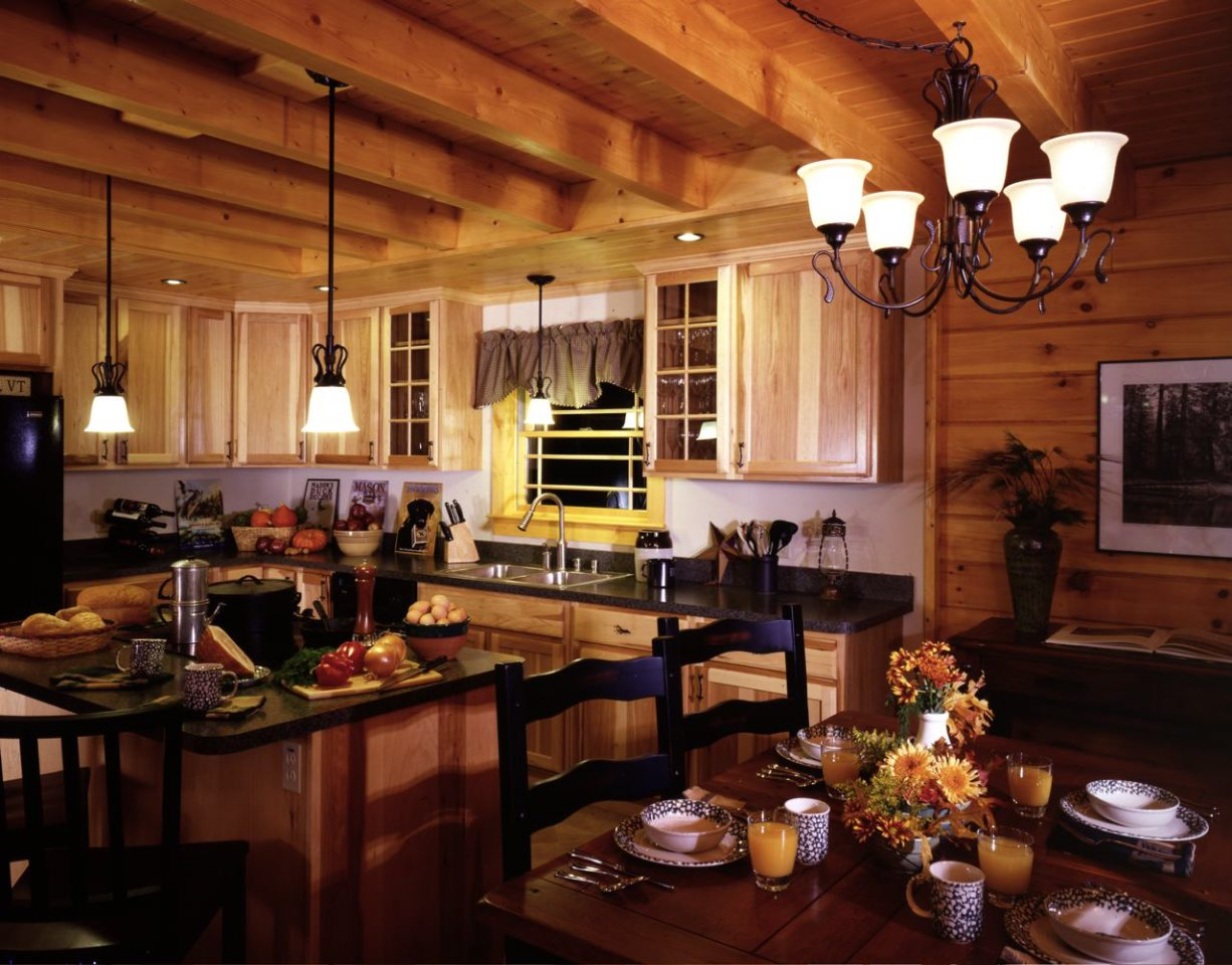 dream cabin kitchen northeastern log homes together with field stream ...