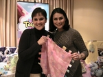 """Rena Sofer, of """"Blind Justice,"""" shows off the Big Taggies blanket she received for daughter Avalon."""