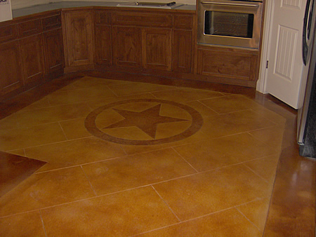 Stained Concrete Kitchen FloorThis Elegantly Stained Concrete Interior Floor  Includes A Star Emblem For An Added Touch. Photo Courtesy Of Creative  Concrete ...