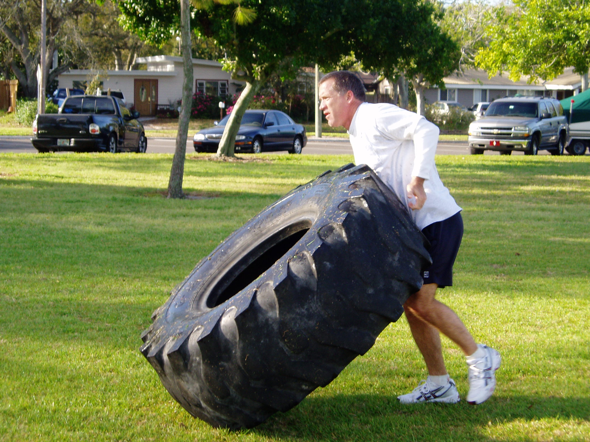 40 lb sandbags old tires and empty kegs the exercise equipment an example of strength camp fitness great for leg strength and upper body fitness