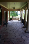 Decorative stamped concrete patio.