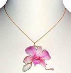 Natural Dendrobium Orchid Pendant Necklace