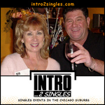 Linda M. and Joe M. Toasting to good times at a Chicago area singles event.