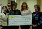 CCW presents a cheque for $500 to Heidi McPherson of Chester County Fund for Women and Girls