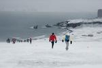 Jeanne Stawiecki, 2nd pos., running the Antarctica Marathon.