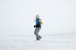 Jeanne Stawiecki braves the elements during the Antarctica Marathon.
