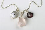 Swami's Rose Quartz Garnet and Freshwater Pearl with Stone Cluster Yellow Gold