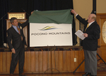 "PMVB Executive Director Robert Uguccioni and MMG Worldwide CEO/Chairman Don Montague declare ""It's Time for the Pocono Mountains"" while unveiling the destination's new brand logo."