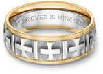 Parisian Cross Bible Verse Wedding Ring