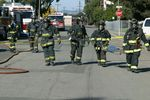 Firefighters in respiratory protection respond to a hazmat incident