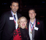 Mira Zivkovich with the 2006 Ellis Island Medal of honor recipients, Vlade Divac(left) of the Los Angeles Lakers and Josip Cermin(right), President of Viztek, Inc.