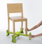 KABOOST snaps-on to the chair in seconds and stays attached even when chair is moved.