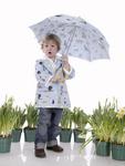 Blue raincoat and umbrella.