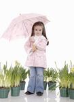Pink raincoat and umbrella.