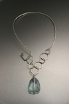 Blue Quartz Pendant on Hammered Sterling Silver Necklace