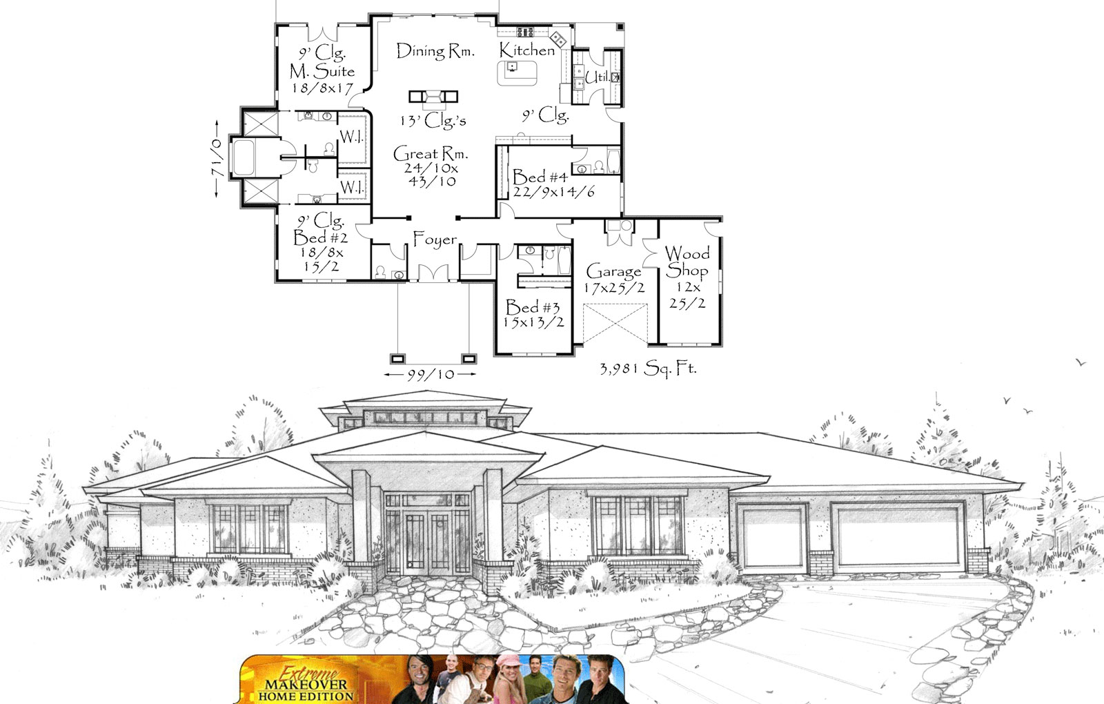 Mark stewart home design designs first custom home for abc for Extreme makeover home edition house plans