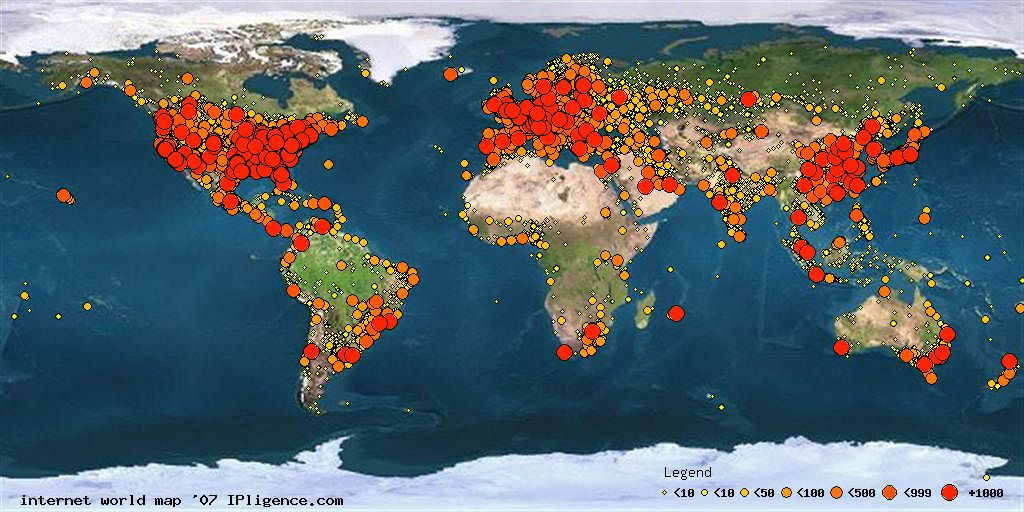 Revealing Report On Internet Worldwide Usage - World internet usage map