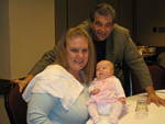 X2 Fit and Fertile Member Catherine Polka with newborn daughter Molly and Infertility Specialist, Laurence A. Jacobs, MD.