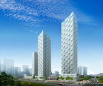 Six mixed-use towers and a hotel in New Songdo City, Korea, are part of a $25 billion master-planned international business district.