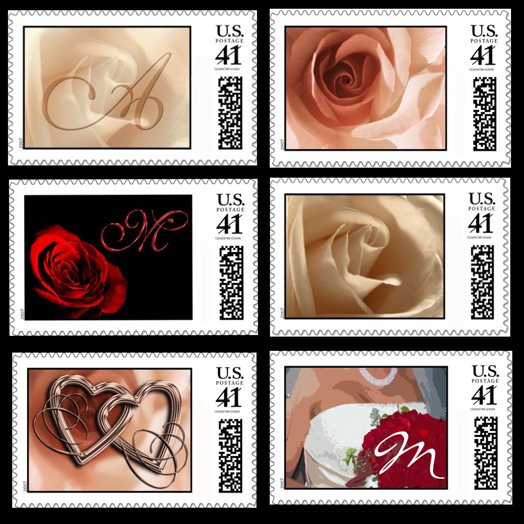 prweb wedding stamps Wedding Postage Stamp SamplerThis is a sampling of the many customizable wedding stamps available from ArtisticPostage com