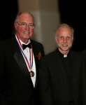 Medalist Obren Brian Gerich, V. Rev. Nicholas Ceko celebrating at Registry Room Great Hall