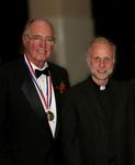 Medalist Obren Brian Gerich, V. Rev. Nicholas Ceko celebrating at Registry Room Great Hall