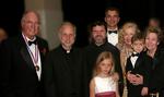 Celebrating with the Gerich family at Registry Room Great Hall: Medalist Obren Brian Gerich, V. Rev. Nicholas Ceko, V. Rev.Djokan Majstorovic, son-in-law Alex Brankovic and Mira Zivkovich with Mrs. Marilyn Gerich