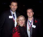 Medalists Vlade Divac and Josip Cermin with Mira Zivkovich
