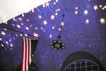 The Ballroom ceiling with the American flag