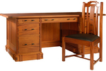 Aurora Pedestal Desk with the Gamble Side Chair