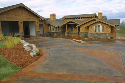 beautify your home with a decorative concrete drivewaythrough coloring and stamp patterns concrete driveways can enhance the curb appeal of a home - Concrete Driveway Design Ideas
