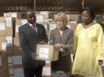 US Ambassador to Burkina Faso, Jeanine Jackson, at a ceremony to hand over donations of medicines provided by Islamic Relief.
