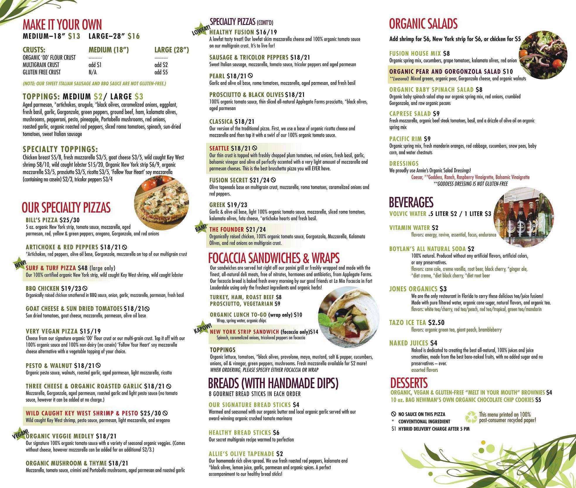 Social Fusion Kitchen Menu