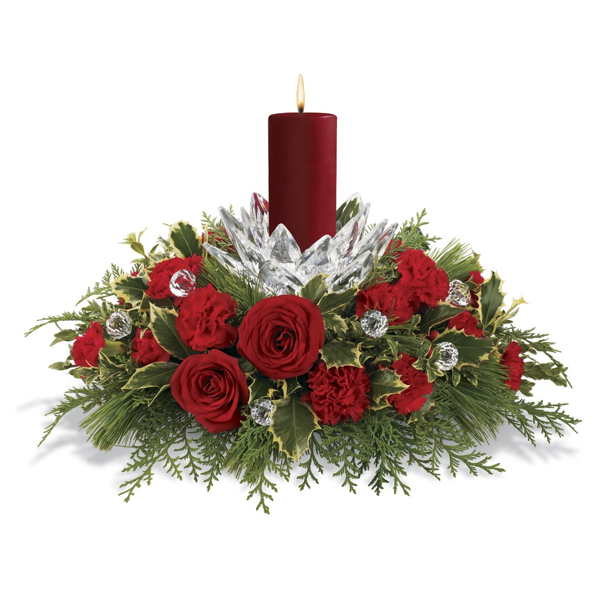 Christmas floral arrangements casual cottage