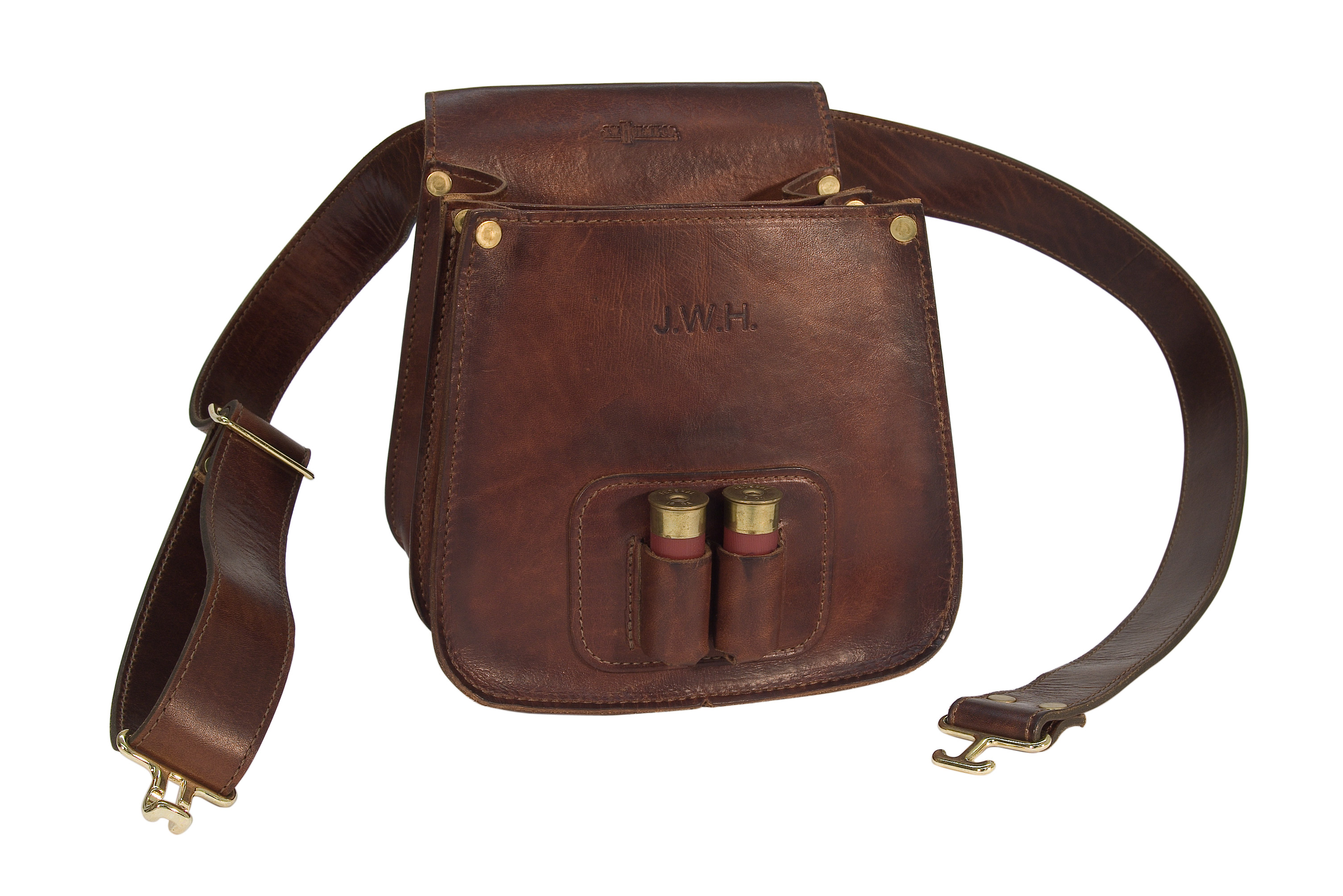Leather shotgun shell belt pouch