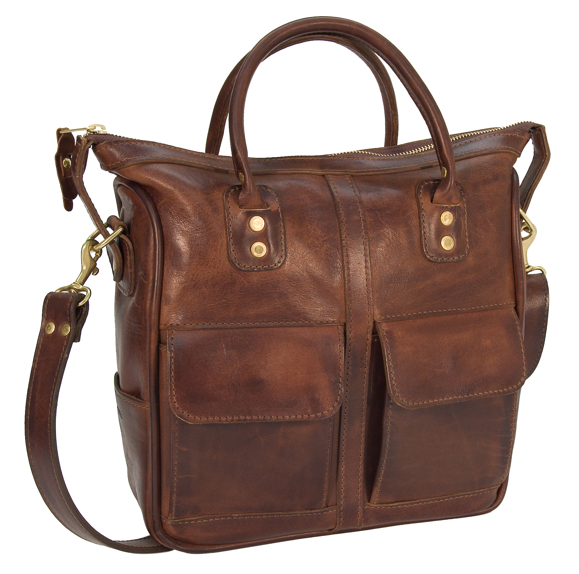 Distressed leather handbag with detachable shoulder strap