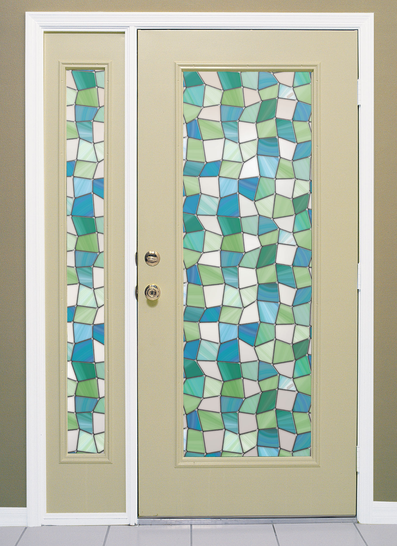 napa privacy on entry door atlantis stained glass window film on entry door and door and sidelight image - Decorative Window Film