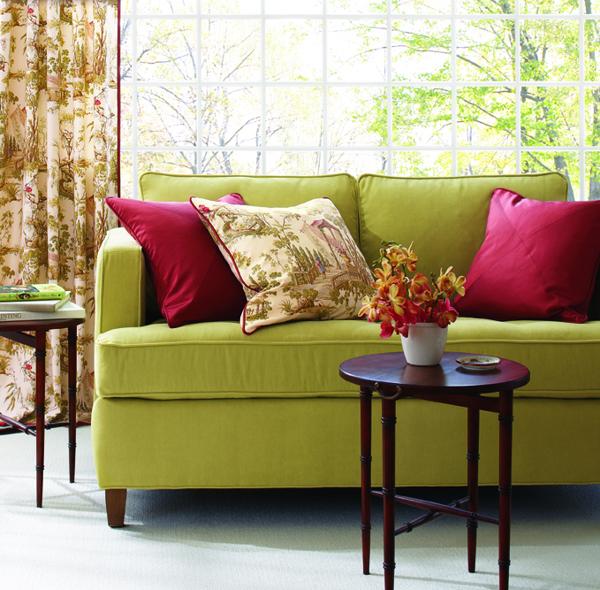 A Loveseat From Calico Corners In The Master Suite Creates A Perfect  Reading Corner For Diving Into A Hot New Book. Accent Pillows In Raspberry  Silk Dupioni ...