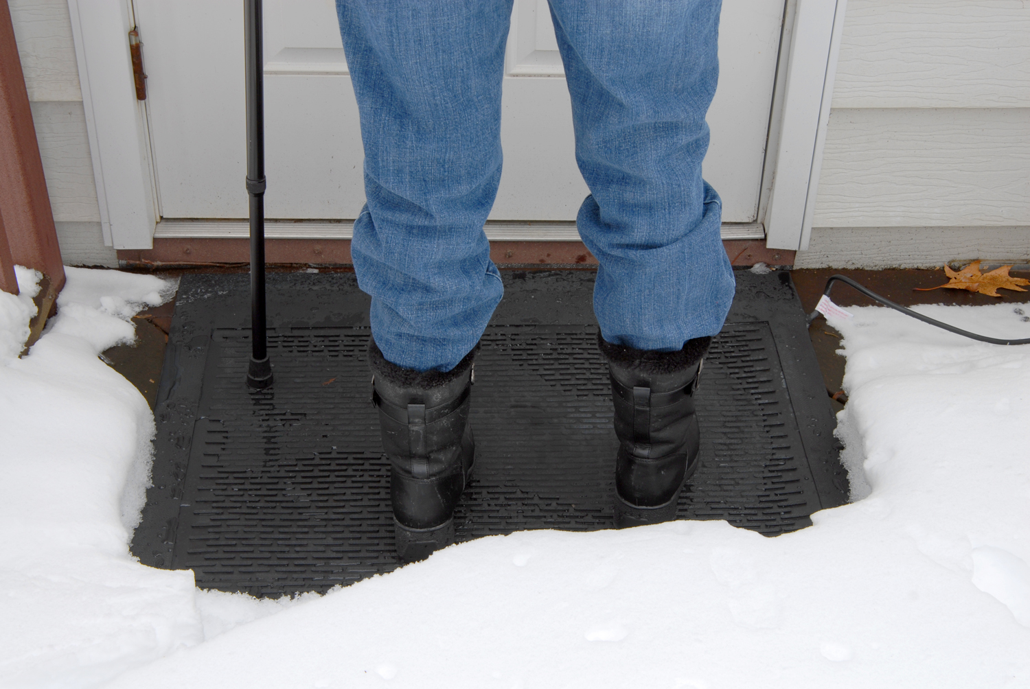new heated snow and ice removal mats provide safe outdoor footing