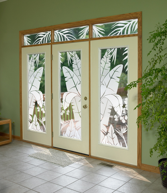 Glass doors go tropical 3 large sliding glass doors decorated with the tropical oasis by wallpaper for windows3 4x8 ft sliders with tropcial oasis planetlyrics Gallery