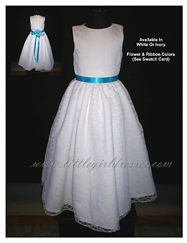 Brown and white flower girl dresses