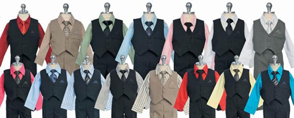 Boys Shirt, Tie, Vest, Pants Combinations from PuddlesCollection.com